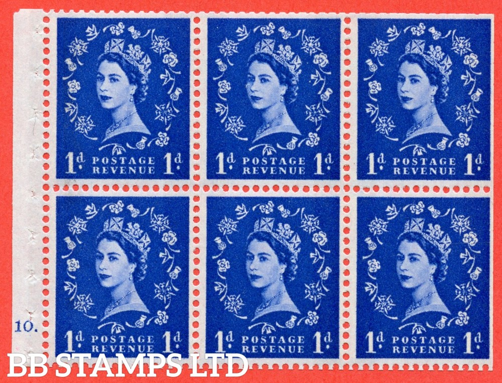 "SG. 611. SB49. 1d Ultramarine. A fine UNMOUNTED MINT cylinder "" F10 dot "" booklet pane of 6. Perf type (Iet) with TRIMMED PERFS. Smooth edge. White Paper."