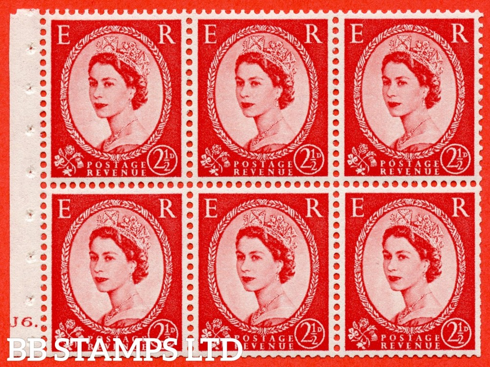 "SG. 544b. SB81. 2½d carmine - red. A fine UNMOUNTED MINT "" J6 dot "" booklet pane of 6. Perf type (Iet) with TRIMMED PERFS. Smooth edge."