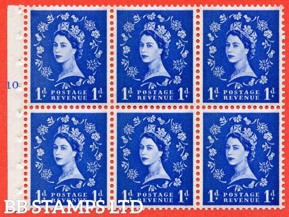 "SG. 611. SB42. 1d Ultramarine. A fine UNMOUNTED MINT cylinder "" F10 T no dot "" booklet pane of 6. Perf type (I) with GOOD PERFS. Smooth edge. White Paper."