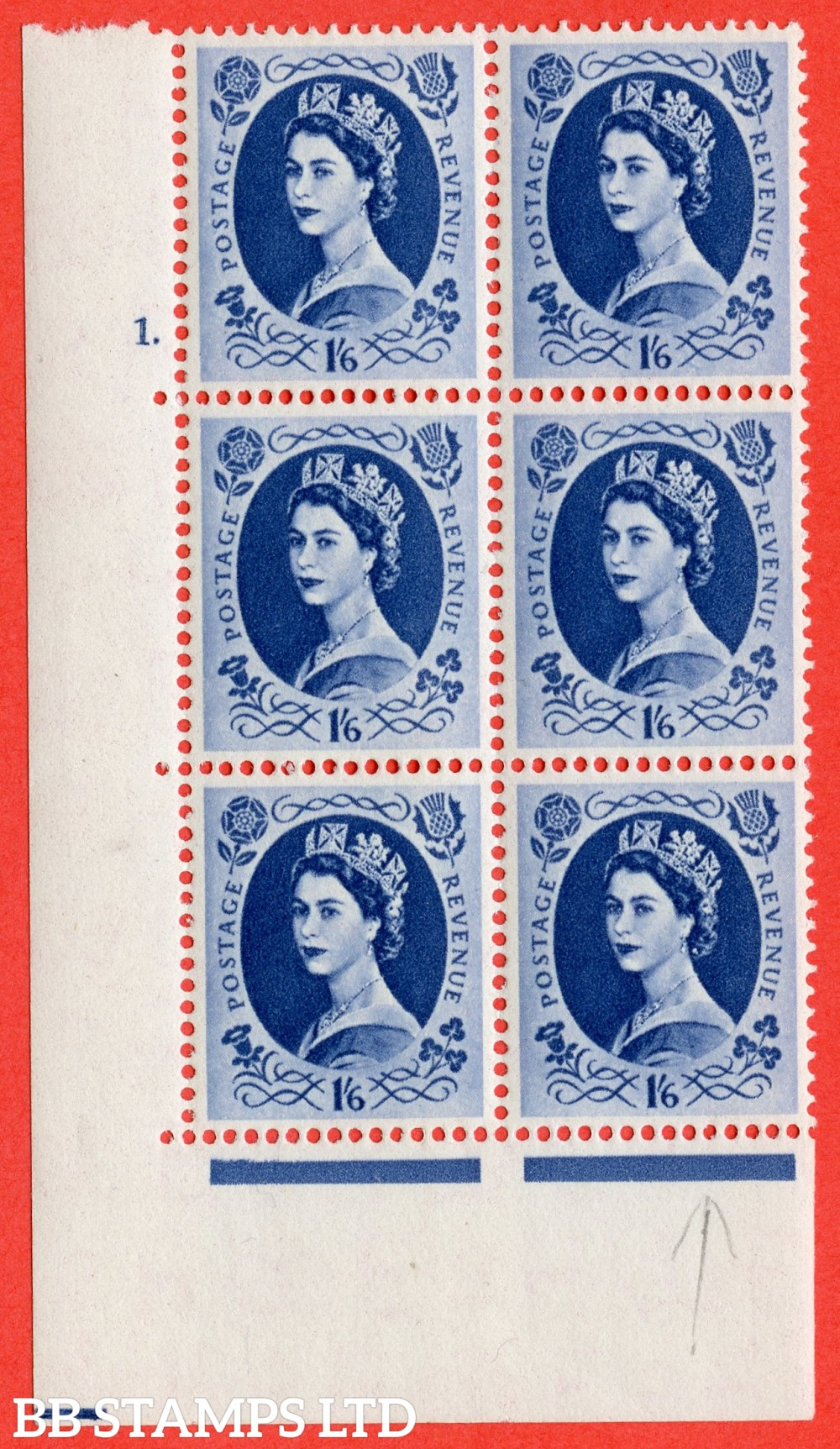 "SG. 556a. S151. 1s 6d Grey - Blue. A superb UNMOUNTED MINT "" cylinder 1 dot "" control block of 6 with perf type A E/I with listed variety "" White flaw in Queens Hair "" Row 20/1."