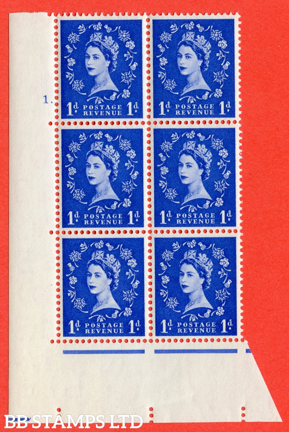 "SG. 541. S14. 1d. Ultramarine. A fine lightly mounted mint "" cylinder 4 dot "" control block of 6 with perf type A E/I"