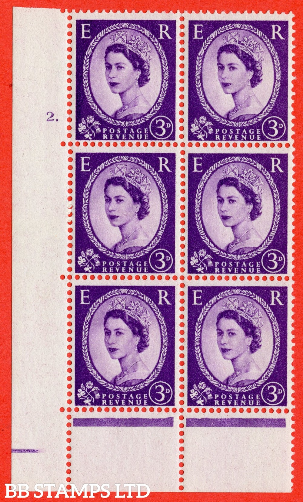 "SG. 545. S68. 3d. Deep - Lilac. A superb UNMOUNTED MINT "" cylinder 2 dot "" control block of 6 with perf type C E/P."
