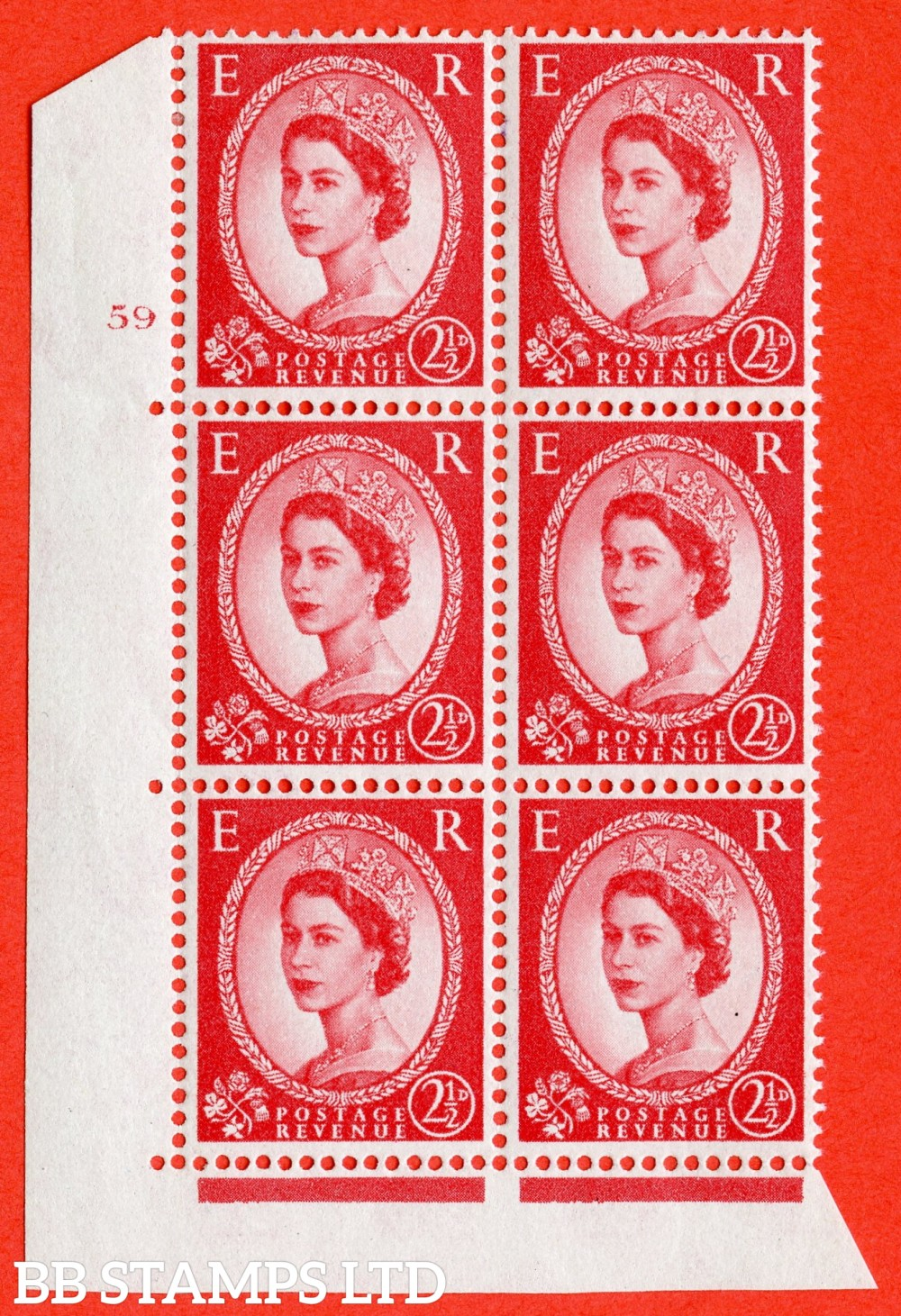 "SG. 574. S57. 2½d Carmine - red.Type II. A fine lightly mounted mint "" cylinder 59 no dot "" control block of 6 with perf type A E/I. WHITE paper."
