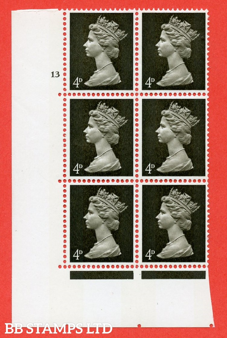 "SG. 731v. U12 . 4d deep olive brown  A superb UNMOUNTED MINT "" cylinder 13 no dot "" control block of 6 with perf type A E/I. PVA gum. Head A"