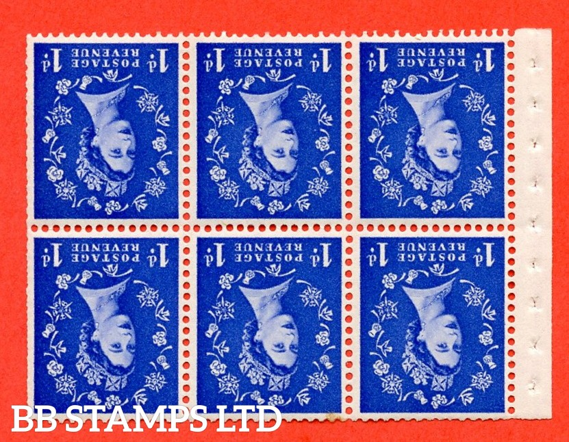 SG. 516LWi. SB20a. 1d ultramarine. A fine UNMOUNTED MINTexample. INVERTED WATERMARK. Complete Booklet pane of 6. Perf Type IS. Trimmed Perfs.