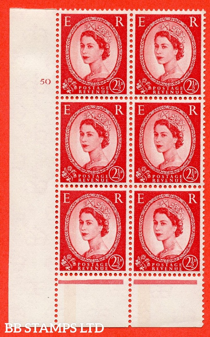"SG.614a. S63a. 2½d Carmine red. Photo. A superb UNMOUNTED MINT "" cylinder 50 no dot "" control block of 6 with perf type B (I/P). Blue Phosphor Cream paper."