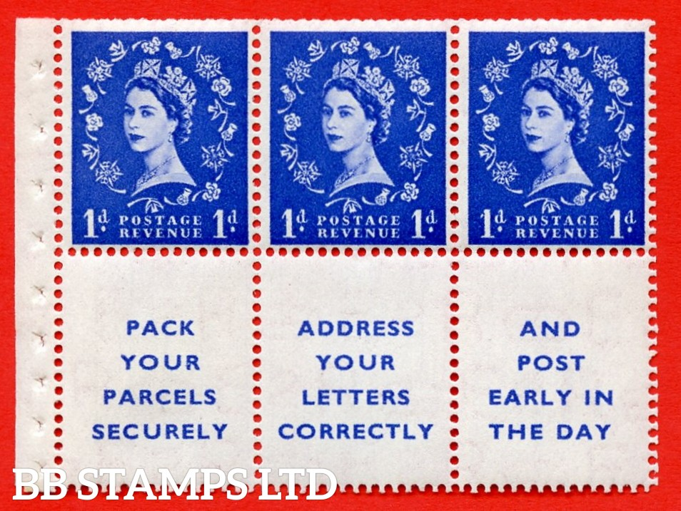 SG. 516La. SB25. 1d ultramarine. A fine UNMOUNTED MINT Complete booklet pane of 6. Perf type (Ieb) with Trimmed PERFS.
