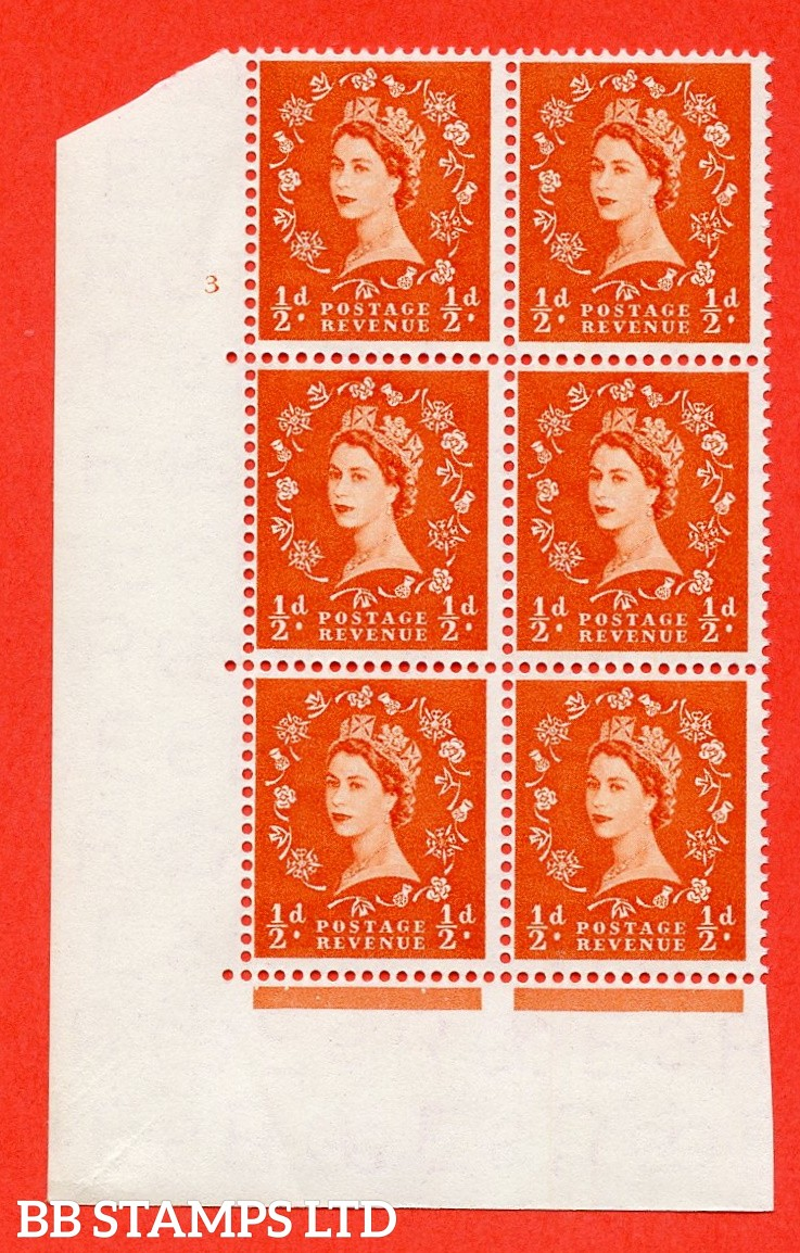 "SG. 540. S2. ½d. Orange-red. A superb UNMOUNTED MINT "" cylinder 3 no dot "" control block of 6 with perf type A E/I"