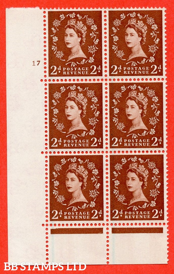"""SG. 590. S42. 2d Red - brown. A superb UNMOUNTED MINT"""" cylinder 17 no dot """" control block of 6 with perf type C E/P."""