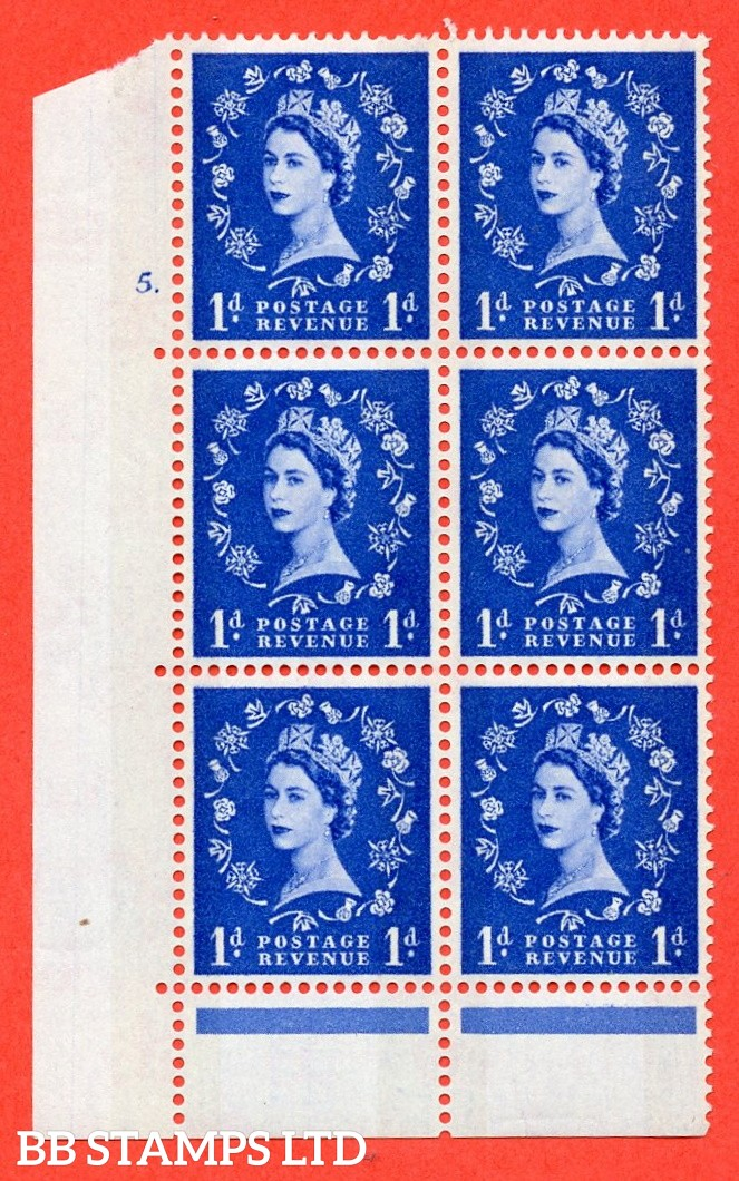 "SG. 611. S20. 1d Ultramarine. A fine mounted mint "" cylinder 5  dot "" control block of 6 with perf type C (E/P). Green Phosphor."