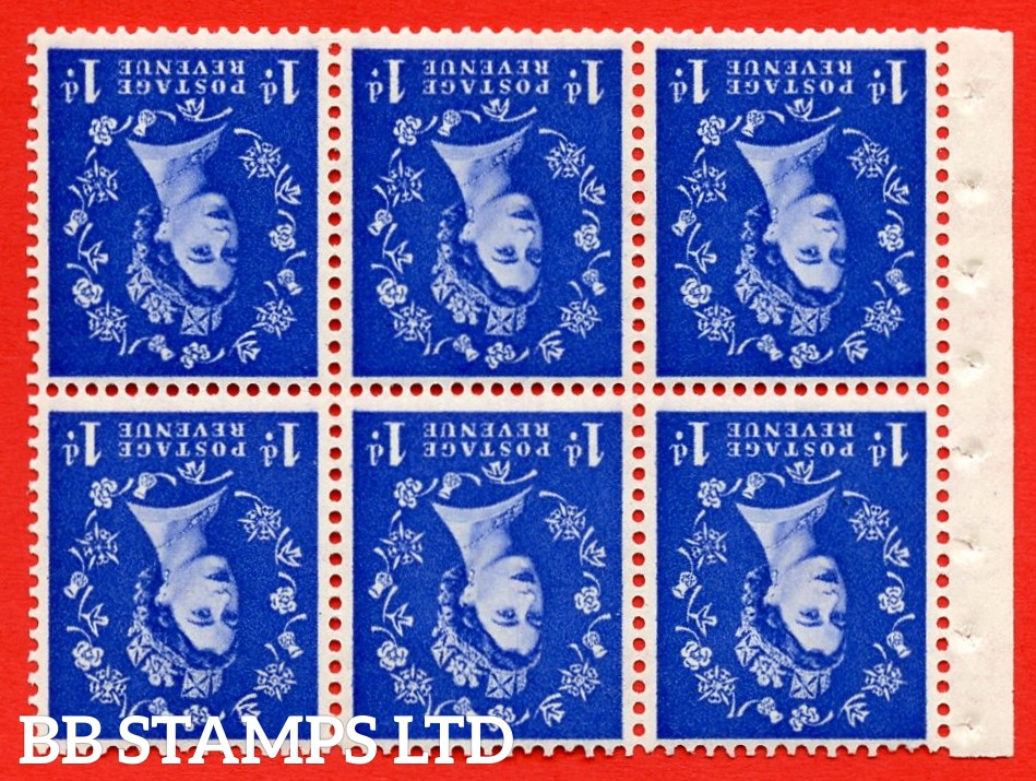 SG. 516LWi. SB20a. 1d ultramarine. A fine UNMOUNTED MINT example. INVERTED WATERMARK. Complete Booklet pane of 6. Perf Type Ieb. Good Perfs.