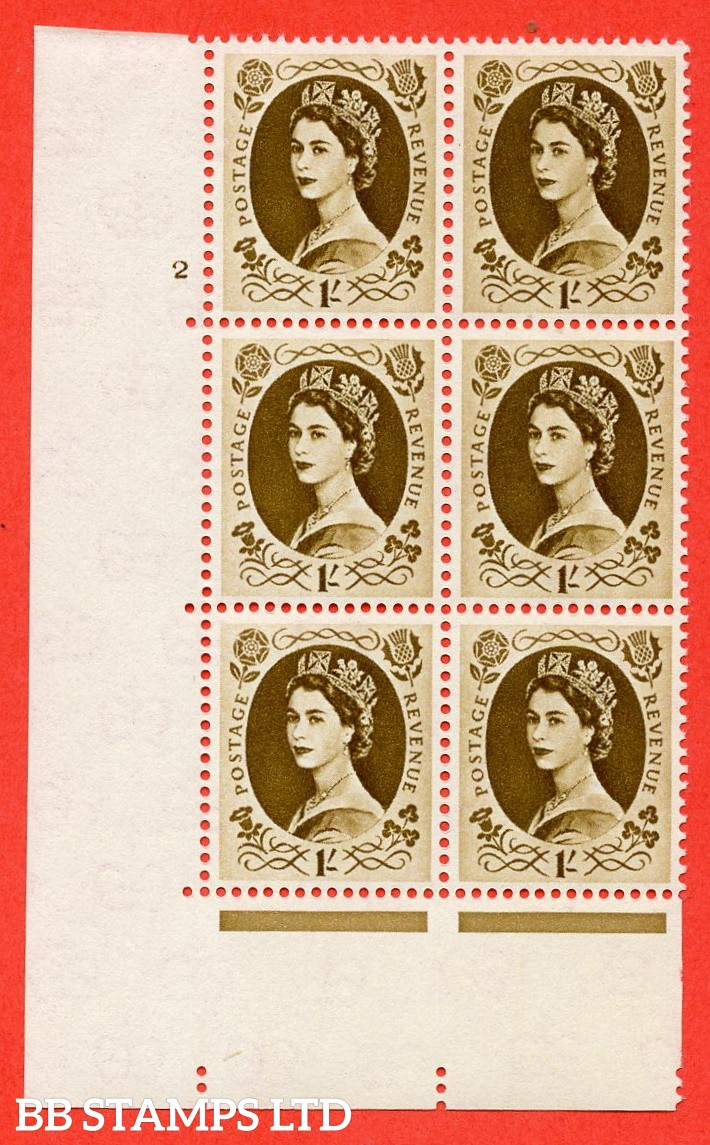 "SG S138. 1/ Bistre Brown  A superb UNMOUNTED MINT "" cylinder 2 no dot "" control block of 6 with perf type A (E/I)."