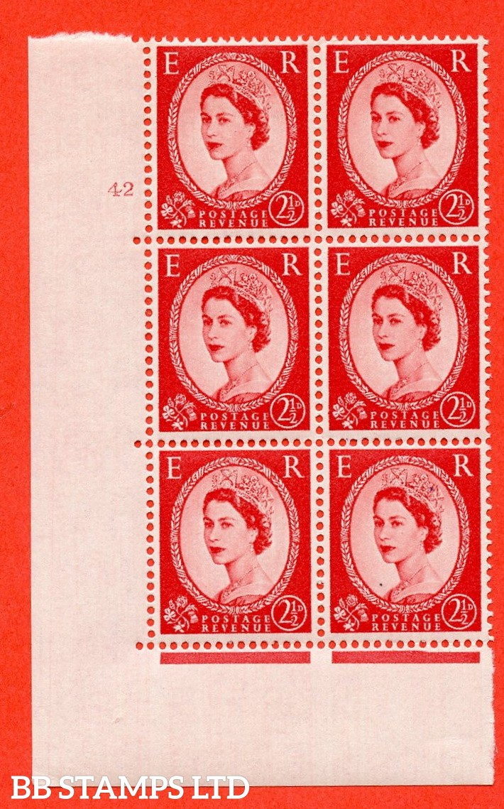 "SG. 544. S52. 2½d. Carmine - Red. A fine lightly mounted mint "" cylinder 42 dot "" control block of 6 with perf type A E/I."