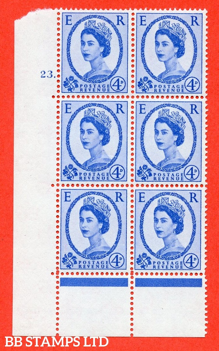 "SG. 575a. S85. 4d Deep Ultramarine. A superb UNMOUNTED MINT "" cylinder 23 dot "" control block of 6 with perf type A E/I. WHITE paper."