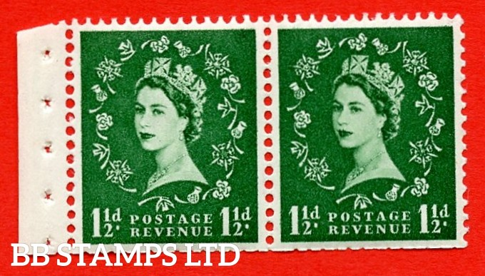 SG. 517N. SB61. 1½d Green. A fine UNMOUNTED MINT. Complete booklet pane of 2 with perf type E½v (T). Trimmed perfs.