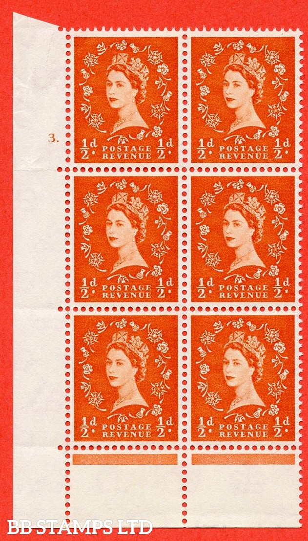 "SG. 570. S4. ½d Orange. A fine mounted mint ""cylinder 3 dot "" control block of 6 with perf type C E/P. CREAM paper."