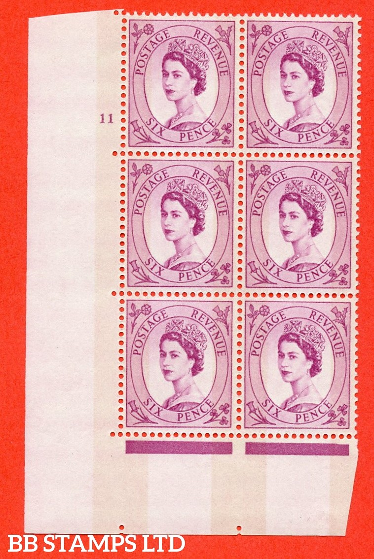 "SG.617. S117. 6d Deep Claret. A fine mounted mint "" cylinder 11 no dot "" control block of 6 with perf type A (E/I). violet Phosphor 9½mm Band."