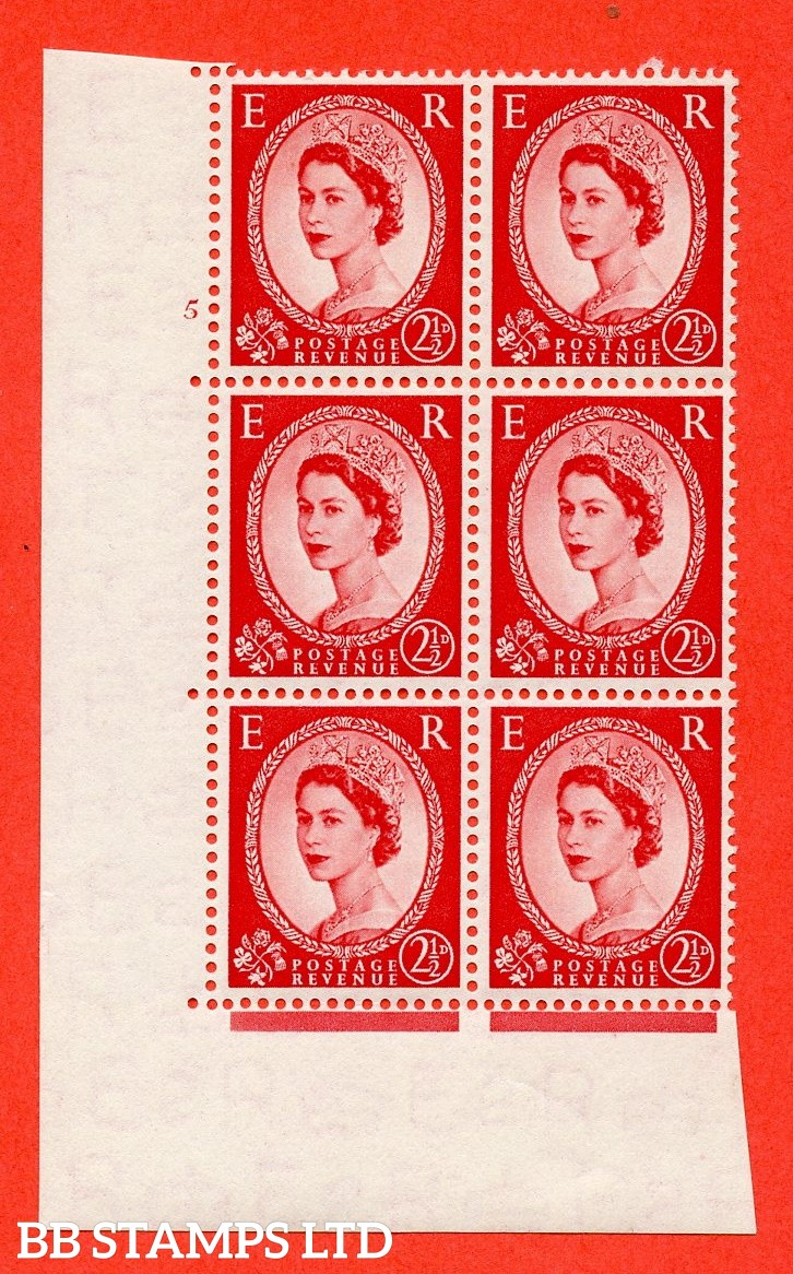 "SG. 519. S50. 2½d Carmine Red. A fine mounted mint "" cylinder 5 no dot "" control block of 6 with perf type A E/I."