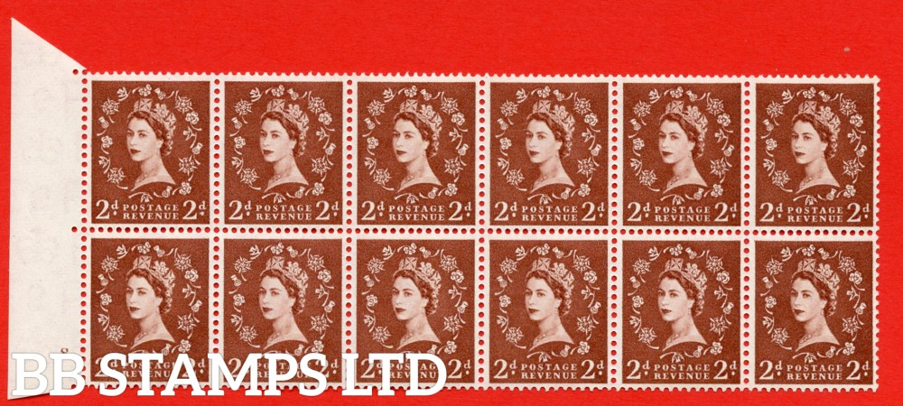 SG. 543b. S38g. 2d. Light Red-brown. A superb UNMOUNTED MINT example from cylinder 8 dot. Left marginal Block of 12. With a Tadpole flaw retouched ERROR R. 17/6 variety.