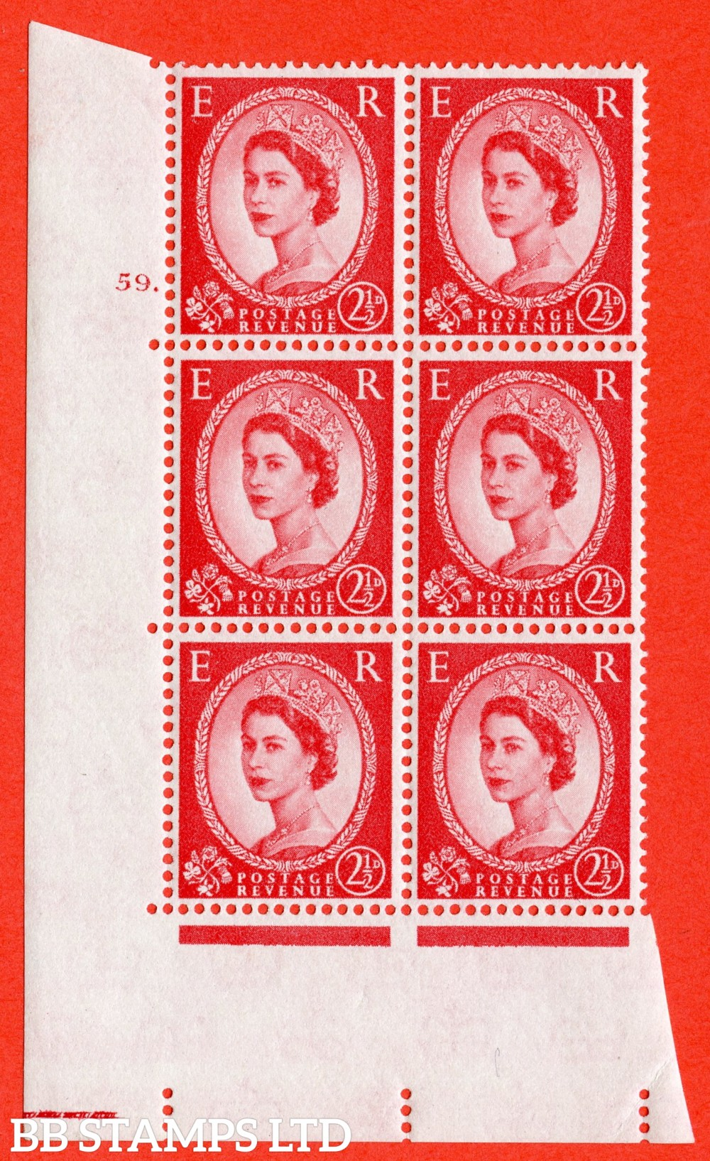 "SG. 574. S57. 2½d Carmine - red.Type II. A superb UNMOUNTED MINT "" cylinder 59 dot "" control block of 6 with perf type A E/I. WHITE paper."