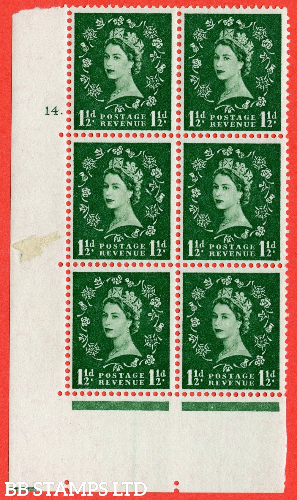 "SG. 542g. S26. 1½ Green. A superb UNMOUNTED MINT "" cylinder 14 dot "" control block of 6 with perf type  A E/I with listed variety "" Butterfly Flaw "" Row 19/1."