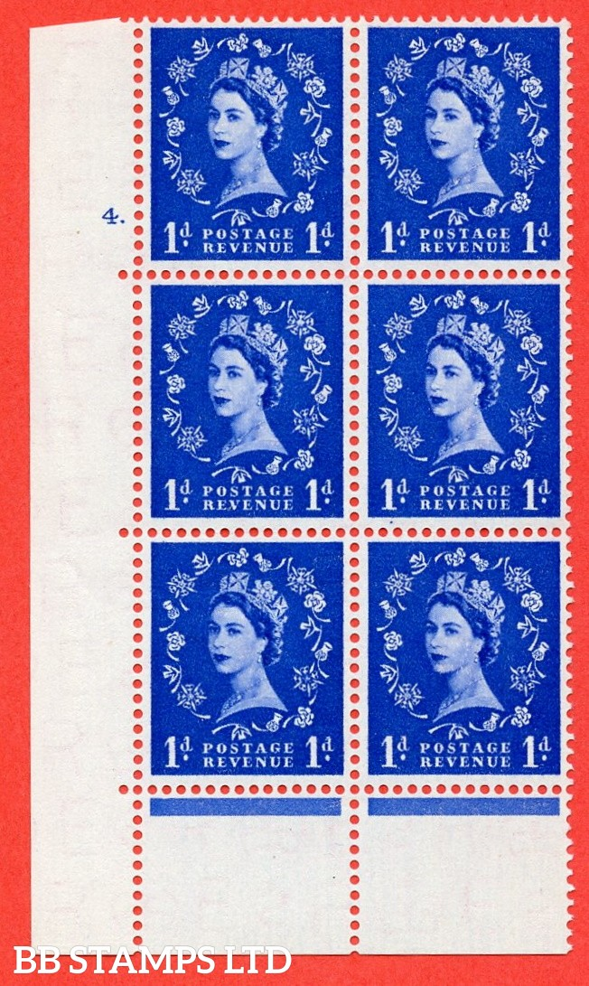 "SG. 541. S14. 1d. Ultramarine. A superb UNMOUNTED MINT "" cylinder 4 dot "" control block of 6 with perf type C E/P"