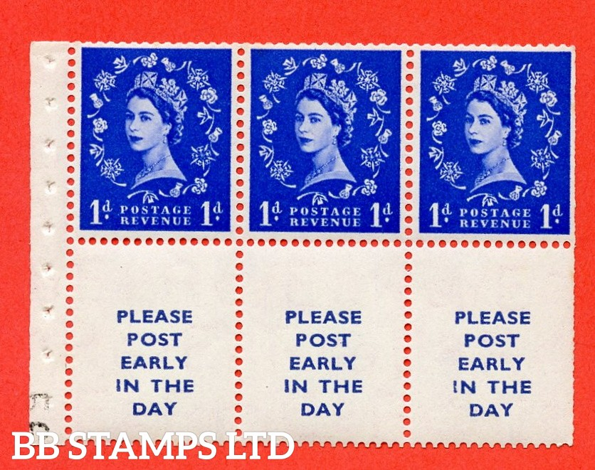 SG. 516La. SB24. 1d ultramarine. A fine UNMOUNTED MINT Complete booklet pane of 6. Perf type (IR) with Trimmed PERFS.