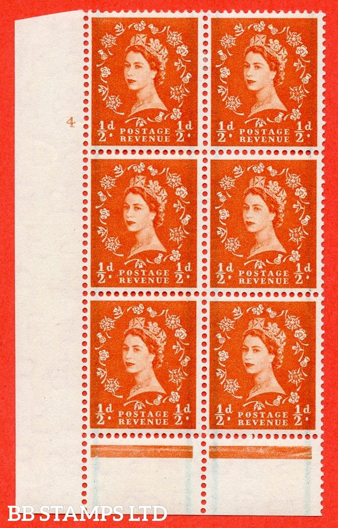 "SG. 561. S3. ½d Orange - Red. A superb UNMOUNTED MINT "" cylinder 4 no dot "" control block of 6 with perf type B I/P."