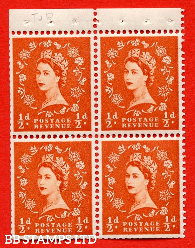 SG. 515m. S2. ½d Orange-Red. A fine UNMOUNTED MINT. complete control block of 4 with perf type P. Trimmed perfs.