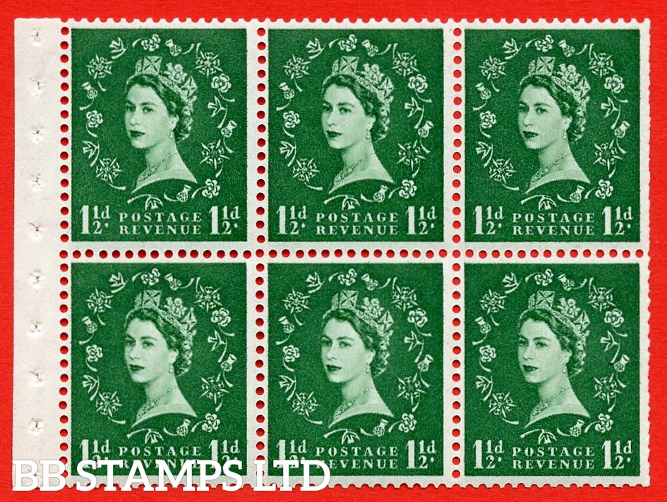 SG. 517. SB59b. 1½d green. A fine UNMOUNTED MINT example. Complete booklet pane of 6. With a extra jewel ERROR. R.1/1 variety. Trimmed Perfs.