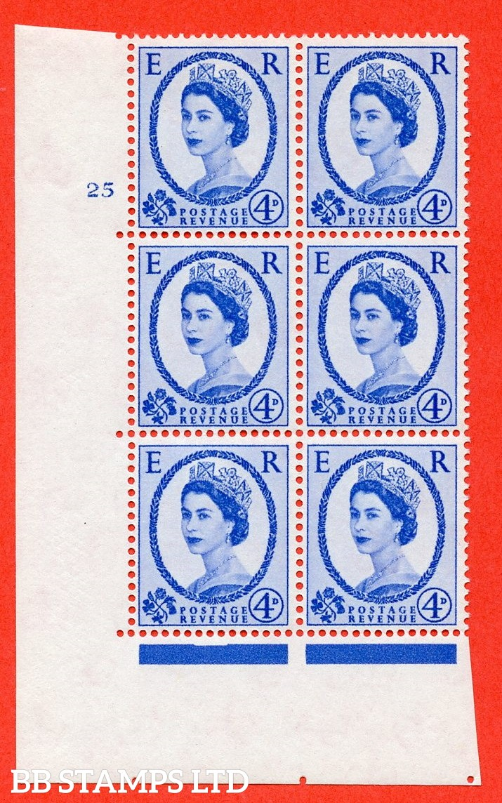 "SG. 576a. S85. 4d Deep Ultramarine. A superb UNMOUNTED MINT "" cylinder 25 no  dot "" control block of 6 with perf type A E/I. WHITE paper."