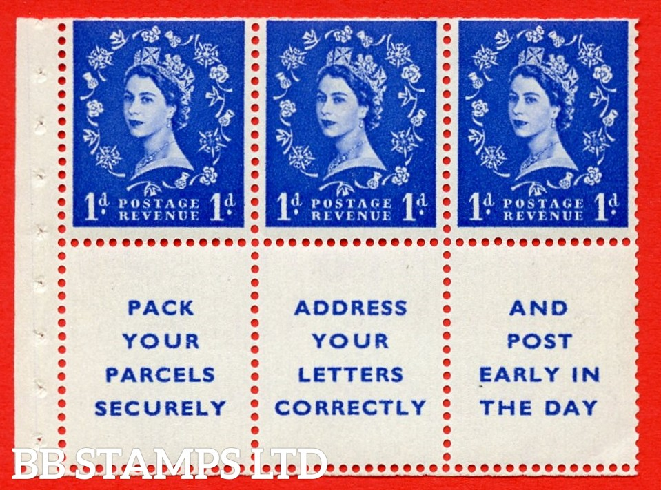 SG. 516La. SB25. 1d ultramarine. A fine MOUNTED MINT Complete booklet pane of 6. Perf type (Ieb) with Trimmed PERFS.