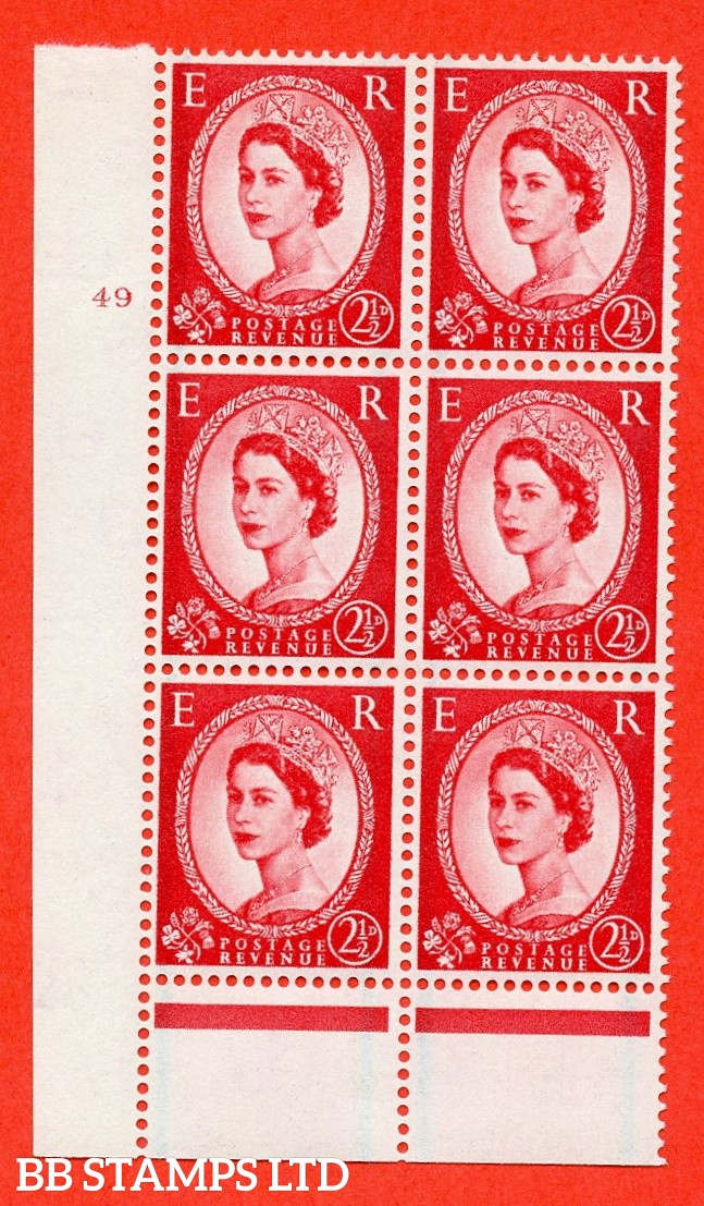 "SG. 591. S59. 2½d Carmine - red. A superb UNMOUNTED MINT"" cylinder 49 no dot "" control block of 6 with perf type B I/P."