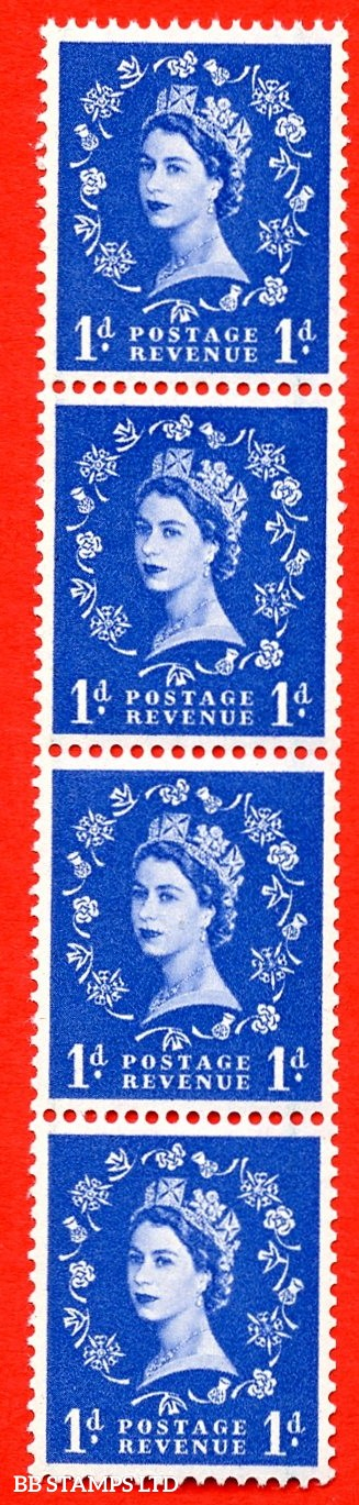 SG. 588 S18i. 1d ultramarine. A super UNMOUNTED MINT example. Coil strip of 4. Crowns graphite. With a spot on thistle head ERROR. Roll 1 variety.