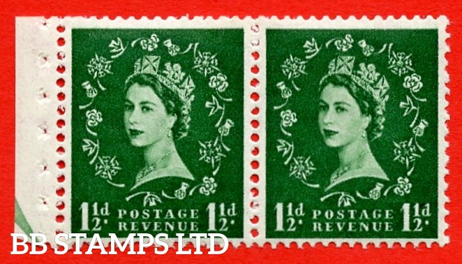 SG. 517N. SB61. 1½d Green. A fine UNMOUNTED MINT. Complete booklet pane of 2 with perf type E½v (B). Good perfs.