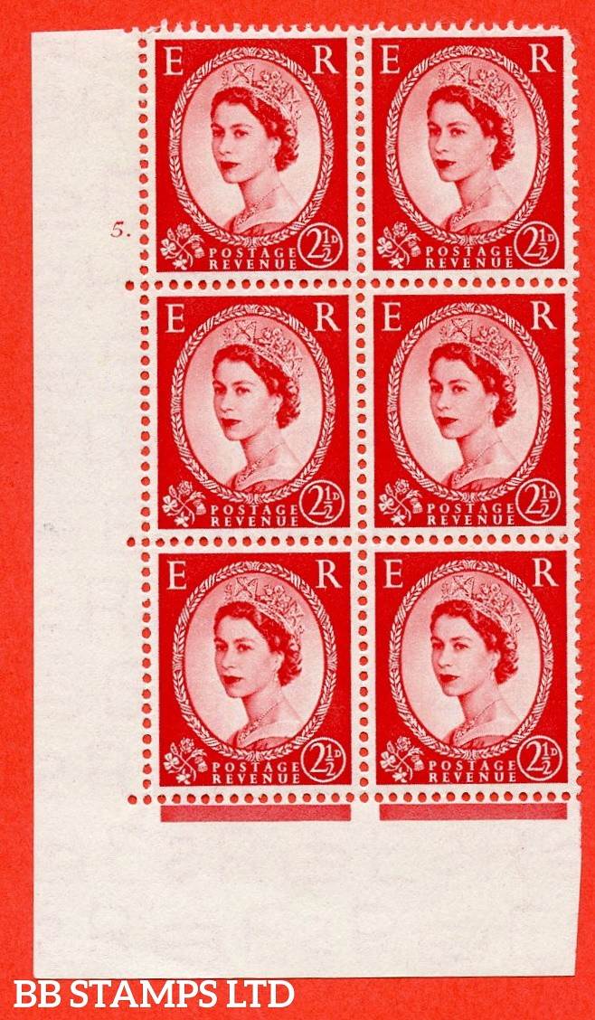 "SG. 519. S50. 2½d Carmine Red A fine mounted mint "" cylinder 5 dot "" control block of 6 with perf type A E/I."