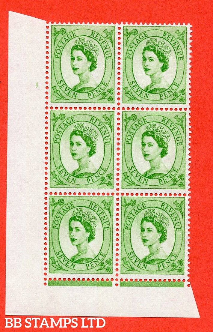 "SG.617a. S118. 7d Bright Green. A fine mounted mint "" cylinder 1 no dot "" control block of 6 with perf type FL (I/E). violet Phosphor 9½mm Band."