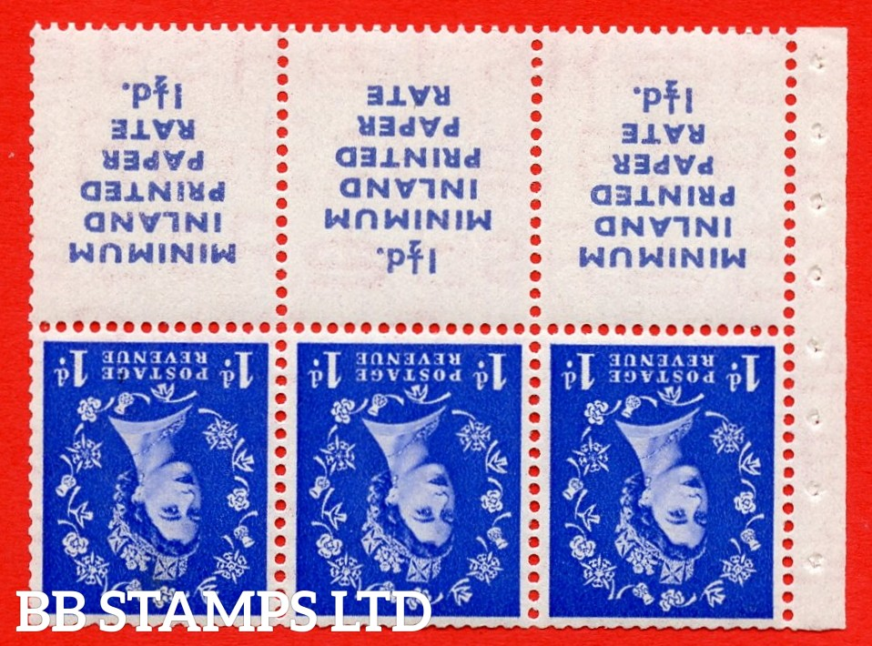 SG. 516Lawi. SB23a. 1d ultramarine. INVERTED WATERMARK. MINIMUM INLAND PRINTED PAPER RATE 1½d. A superb UNMOUNTED MINT booklet pane of 6. Perf type IR. Good Perfs.