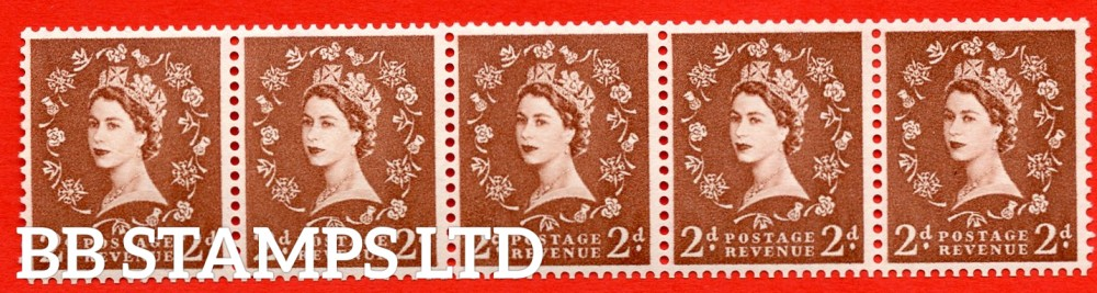"SG. 543bd. S38t. 2d. Light Red-brown. A superb UNMOUNTED MINT example. Coil strip of 5. WATERMARK sideways left. With a retouched left ""2"".ERROR. Roll 5 variety."