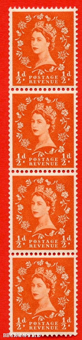 "SG. 570. S4L. ½d Orange. A superb UNMOUNTED MINT example. Coil strip of 4. Cream paper. With a spot on ""D"" ERROR. Roll 5 variety."