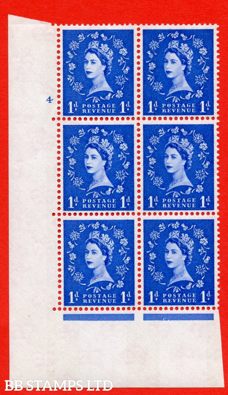 "SG.611. S22. 1d  Ultramarine. A superb UNMOUNTED MINT "" cylinder 4 no dot "" control block of 6 with perf type A (E/I). Blue Phosphor White paper."