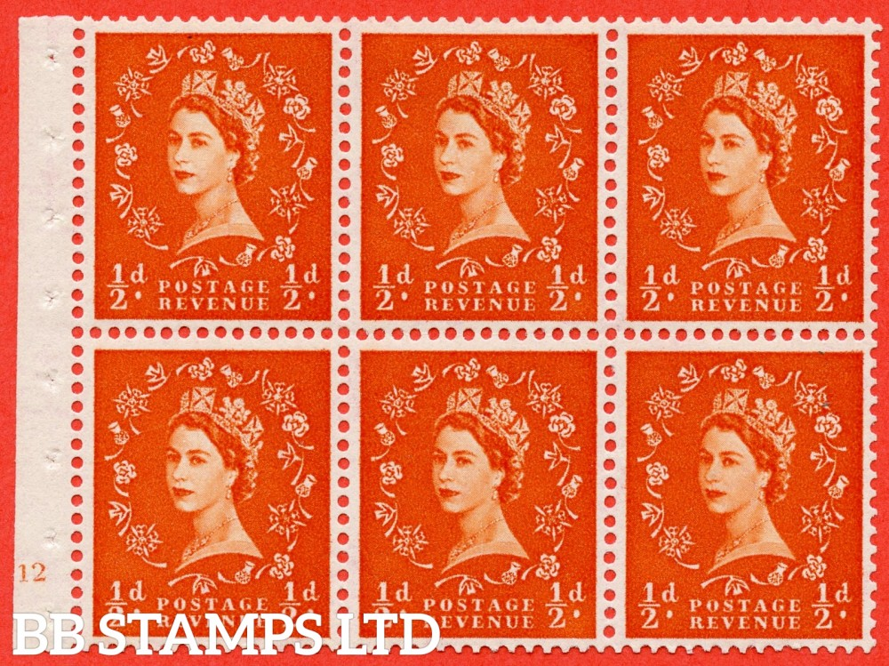 "SG. 570. SB7. ½d orange - red. A fine mounted mint cylinder "" E12 no dot "" booklet pane of 6. Perf type (I) with TRIMMED PERFS. Smooth edge. Cream paper."