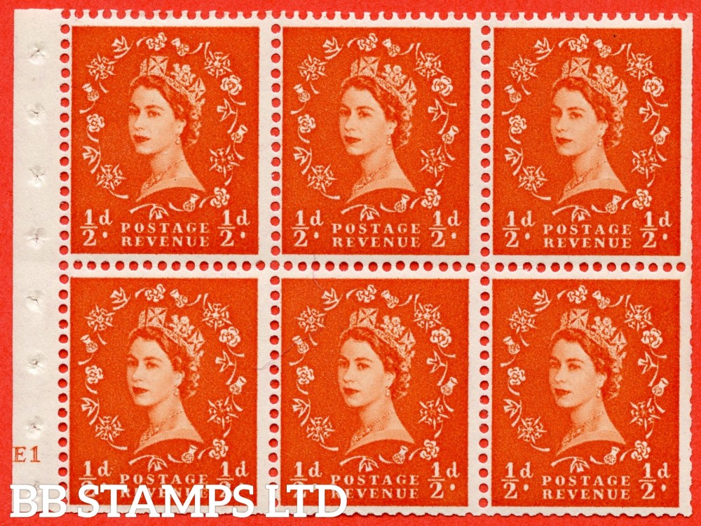 "SG. 515. SB1. ½d orange - red. A fine Mounted mint cylinder "" E1 no dot "" booklet pane of 6. Perf type (I) with TRIMMED PERFS. Smooth edge."