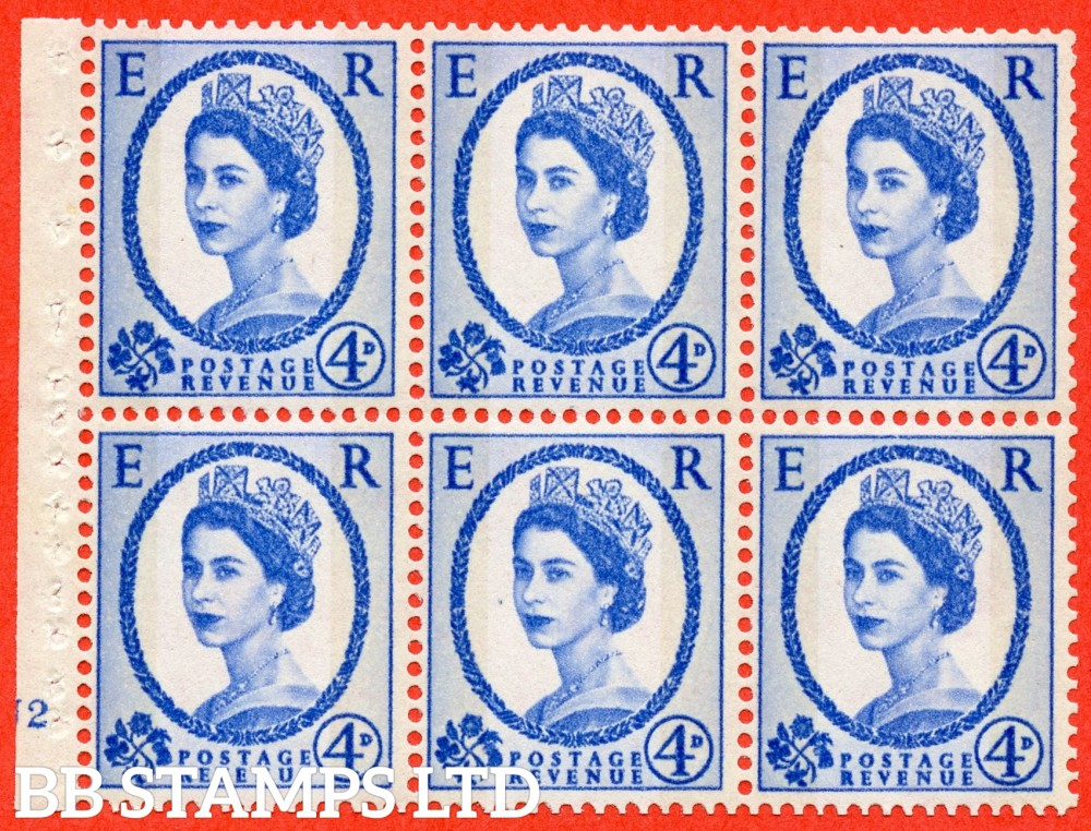 "SG. 616a. SB111. 4d Deep Ultramarine. A fine UNMOUNTED MINT cylinder "" N2 no dot "" booklet pane of 6. Perf type (I) with GOOD PERFS. Smooth edge."