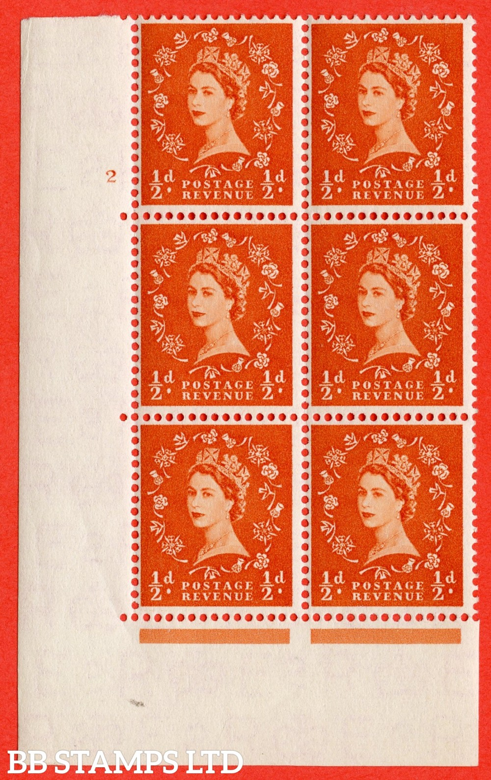 "SG. 540. S2. ½d. Orange-red. A superb UNMOUNTED MINT "" cylinder 2 no dot "" control block of 6 with perf type A E/I."
