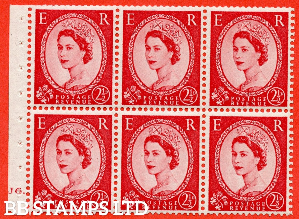"SG. 544b. SB81. 2½d carmine - red. A fine mounted mint "" J6 dot "" booklet pane of 6. Perf type (Ieb) with TRIMMED PERFS. Smooth edge."