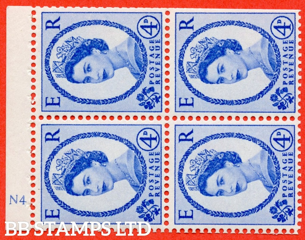 "SG. 576a. SB106. 4d Deep Ultramarine. A fine UNMOUNTED MINT cylinder "" N4 no dot "" booklet pane of 4. Perf type (I) with TRIMMED PERFS. Smooth edge. White paper."