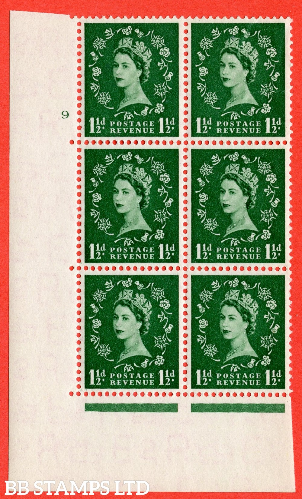 "SG. 517. S25. 1½d Green. A superb UNMOUNTED MINT "" cylinder 9 no dot "" control block of 6 with perf type A E/I."
