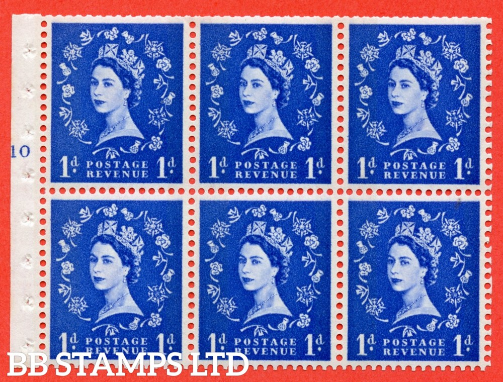 "SG. 611. SB42. 1d Ultramarine. A fine UNMOUNTED MINT cylinder "" F10 T no dot "" booklet pane of 6. Perf type (I) with TRIMMED PERFS. Smooth edge. White Paper."