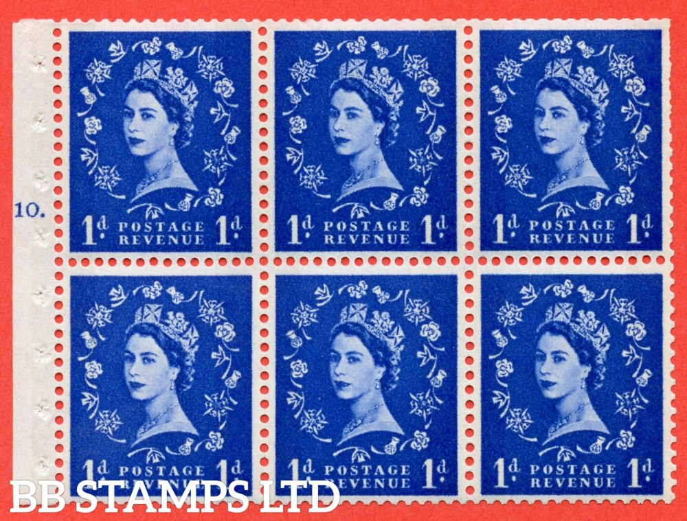 "SG. 611. SB49. 1d Ultramarine. A fine UNMOUNTED MINT cylinder "" F10 T no dot "" booklet pane of 6. Perf type (I) with TRIMMED PERFS. Smooth edge. White Paper."